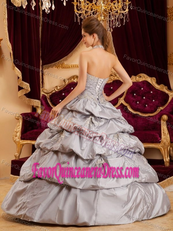 all Gown Halter Floor-length Taffeta Appliques Dresses for Quinceaneras in Gray