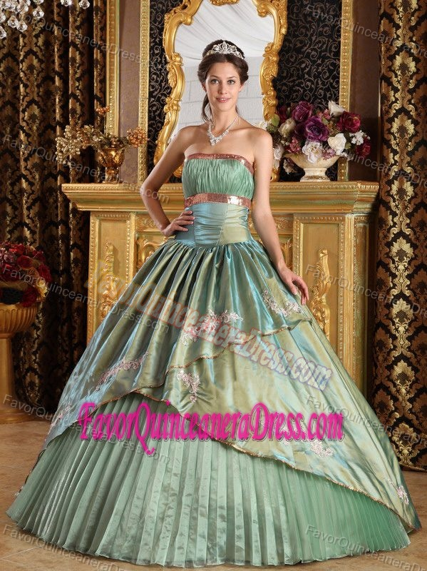 Strapless Taffeta and Organza Appliques Quinceanera Gown in Olive Green