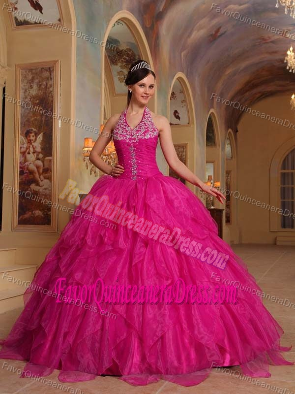Floor-length Organza Embroidery Hot Pink Quinceanera Dresses with Halter