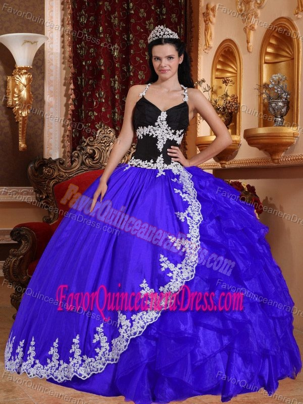 Blue V-neck Taffeta and Organza Quinceanera Gowns with Appliques