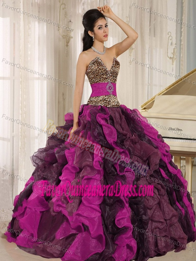 Leopard V-neck Ruffled Multi-colored Quinceanera Dress with Beading