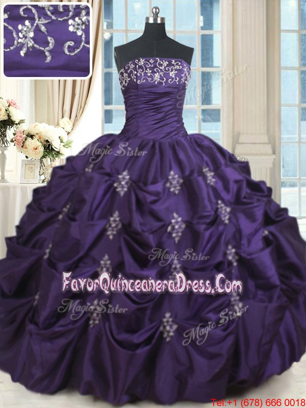 Gold Ball Gowns Organza and Taffeta Strapless Sleeveless Beading and Lace and Ruffles Floor Length Lace Up 15th Birthday Dress