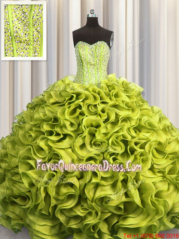 Visible Boning Floor Length Lace Up 15th Birthday Dress Olive Green and In for Military Ball and Sweet 16 and Quinceanera with Beading and Ruffles