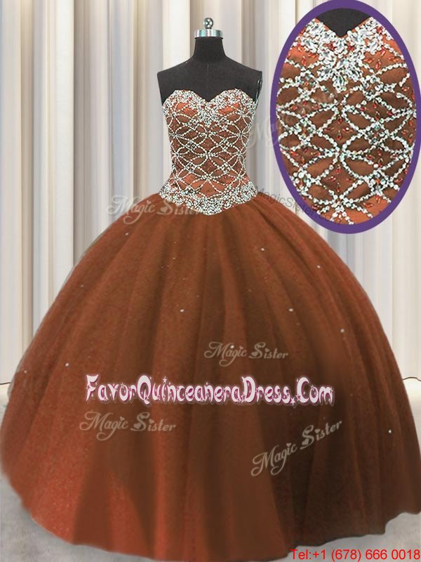 Most Popular Brown Lace Up Sweetheart Beading and Sequins Sweet 16 Quinceanera Dress Tulle Sleeveless