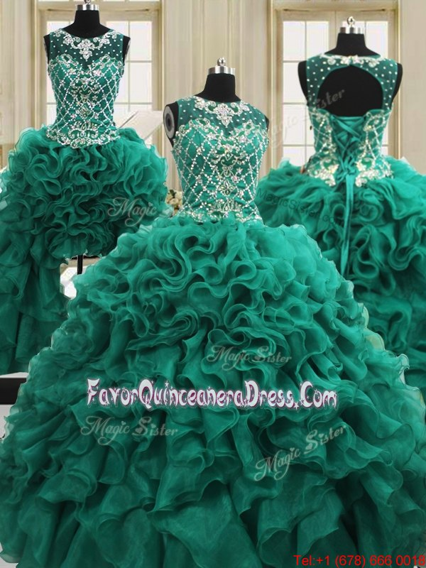 Exquisite Four Piece Scoop Dark Green Sleeveless Organza Lace Up Quinceanera Gown for Military Ball and Sweet 16 and Quinceanera