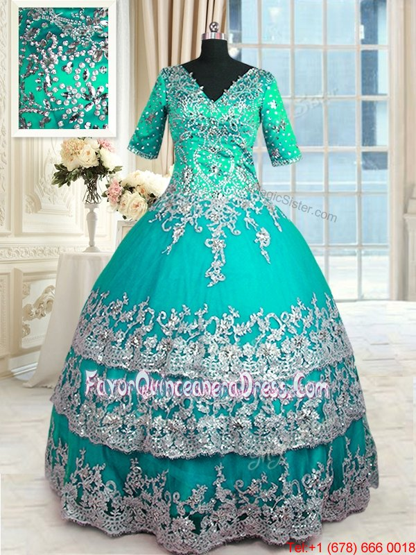 Floor Length Zipper Quinceanera Gown Turquoise and In for Military Ball and Sweet 16 and Quinceanera with Beading and Lace and Appliques and Ruffled Layers