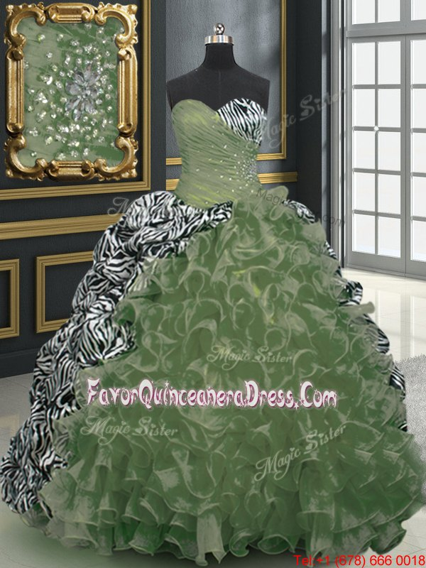 Sweetheart Sleeveless Organza and Printed Sweet 16 Quinceanera Dress Beading and Ruffles and Pattern Brush Train Lace Up