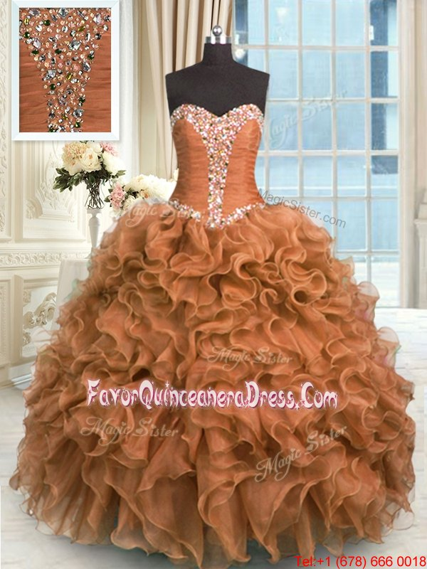 Super Sweetheart Sleeveless Lace Up 15 Quinceanera Dress Brown Organza