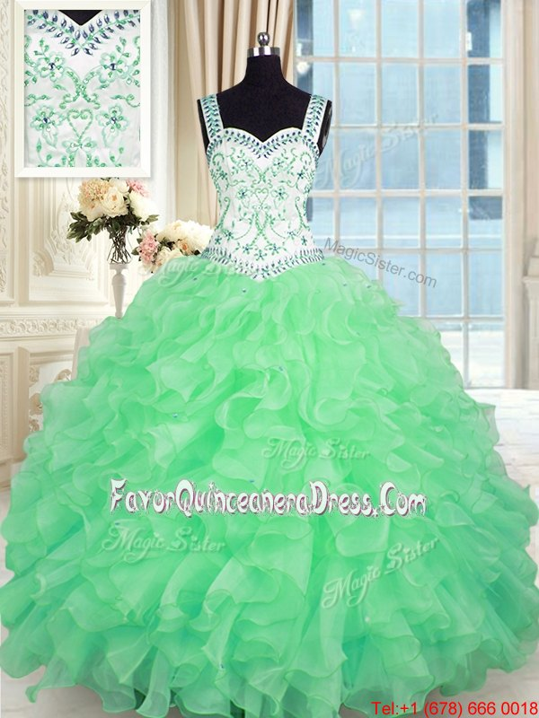 Flirting Gold Sleeveless Floor Length Beading and Ruffles Lace Up Sweet 16 Dress