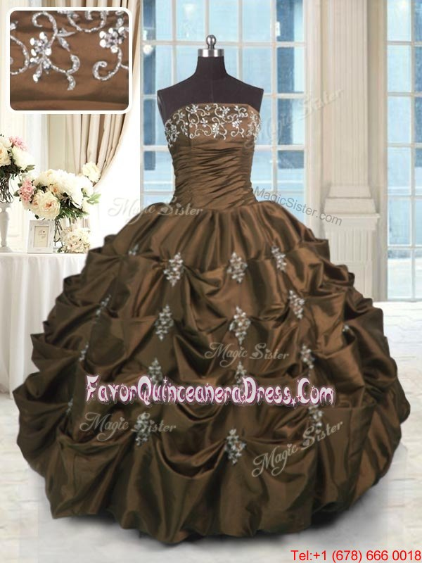 Enchanting Chocolate Ball Gowns Strapless Sleeveless Taffeta Floor Length Lace Up Beading and Appliques and Embroidery and Pick Ups Quince Ball Gowns