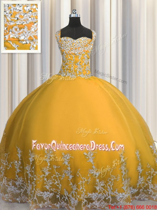 Elegant Gold Ball Gowns Beading and Appliques Quinceanera Gowns Lace Up Tulle Sleeveless Floor Length