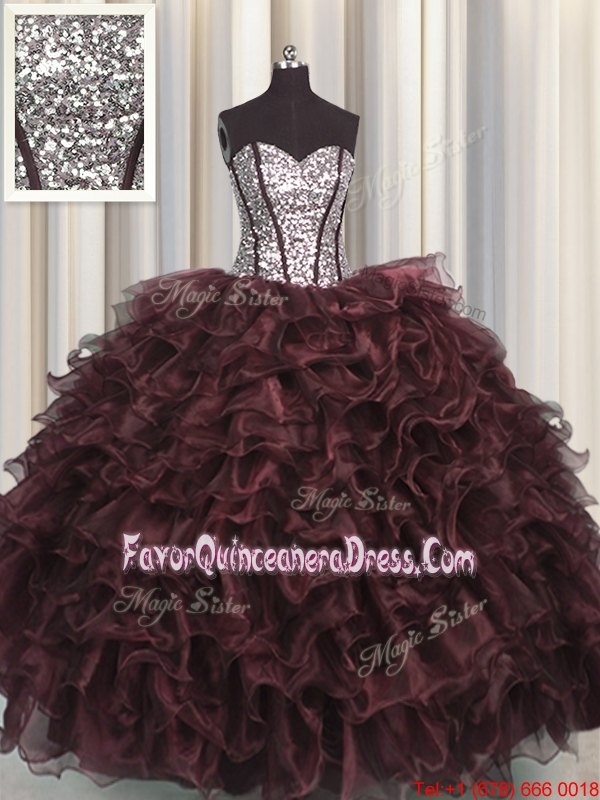 Sequins Visible Boning Floor Length Brown Quince Ball Gowns Sweetheart Sleeveless Lace Up