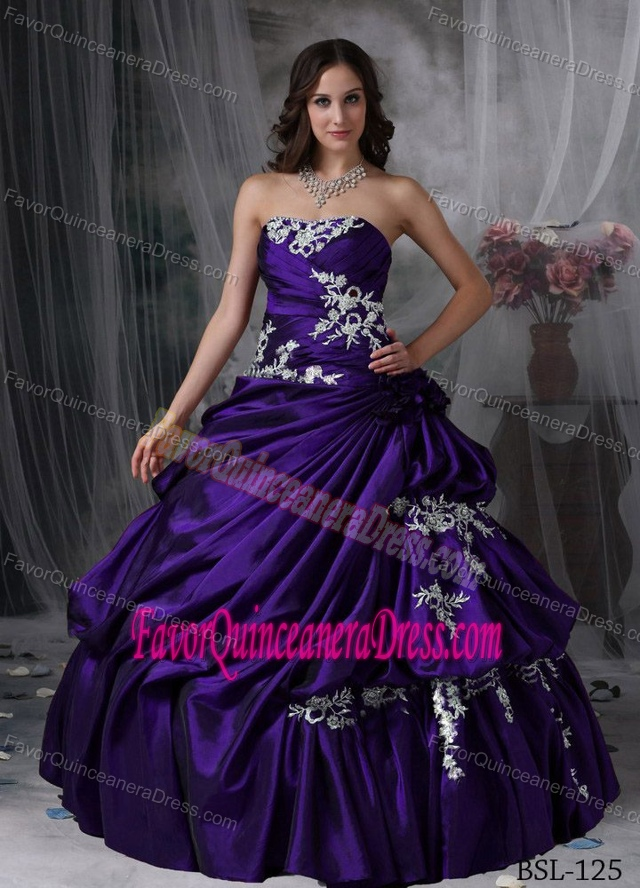 Dark Purple Long Dress for Quinceanera with Appliques in Taffeta