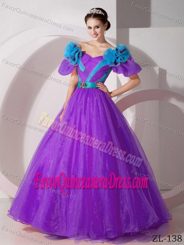New Purple Organza V-neck Short Sleeves Sweet 15 Dress with Flowers