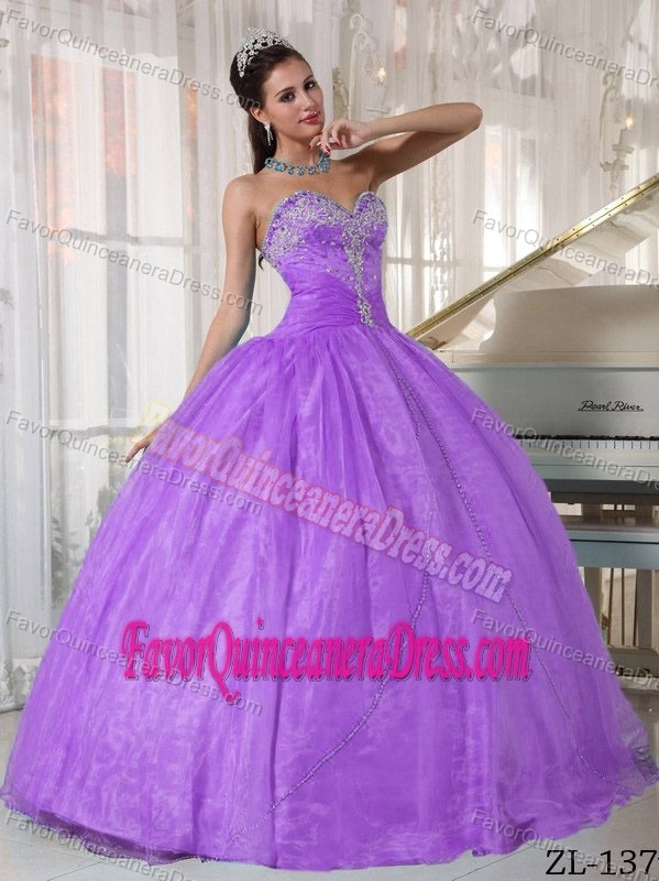 Sale Appliqued Sweetheart Purple Dresses for Quinceanera in Organza