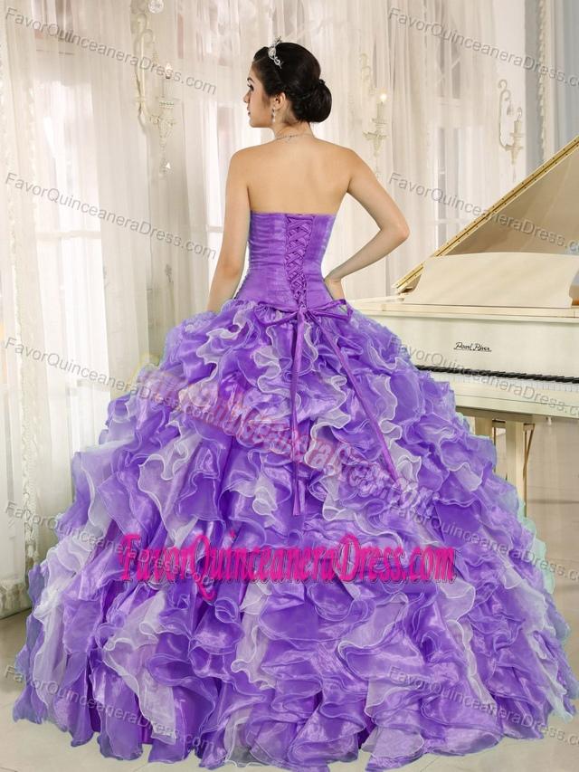 Exclusive Purple and White Ruffled Skirt Quinceanera Gown ... White And Purple Quinceanera Dresses