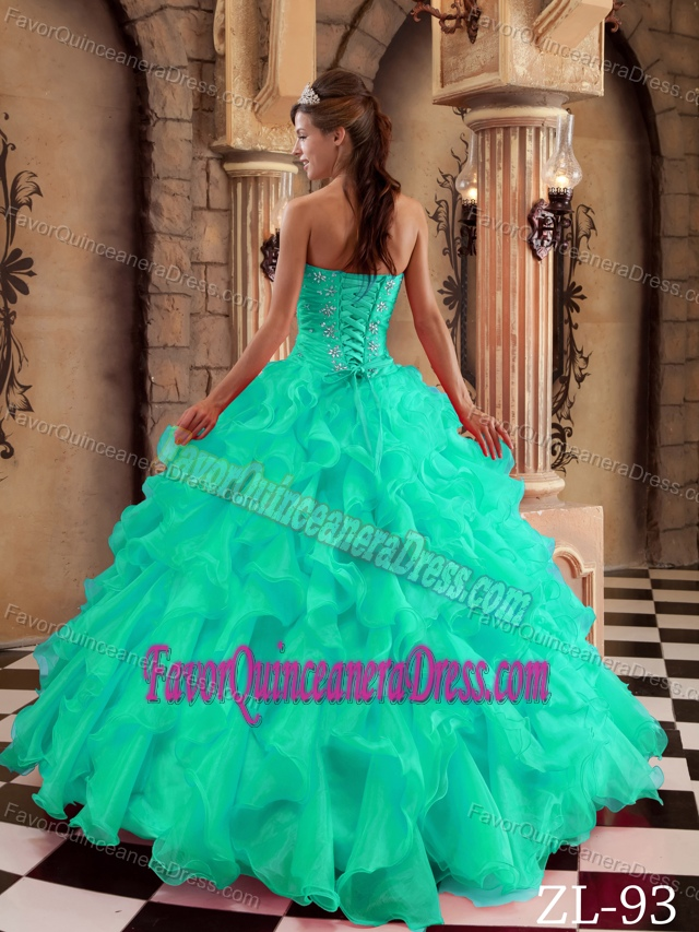 Ornate Blue Sweetheart Organza Quinceanera Gown Dress with Ruffles