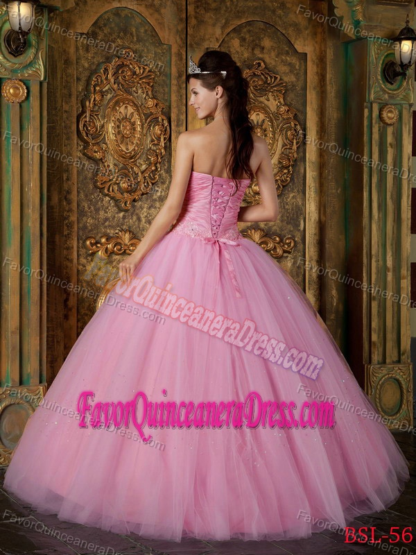 Ornate Strapless Appliqued Tulle Dress for Quinceanera in Rose Pink