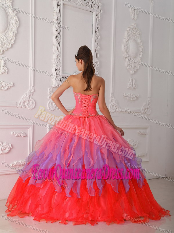 Pretty Sweetheart Floor-length Organza Dresses for Quince in Multi-color