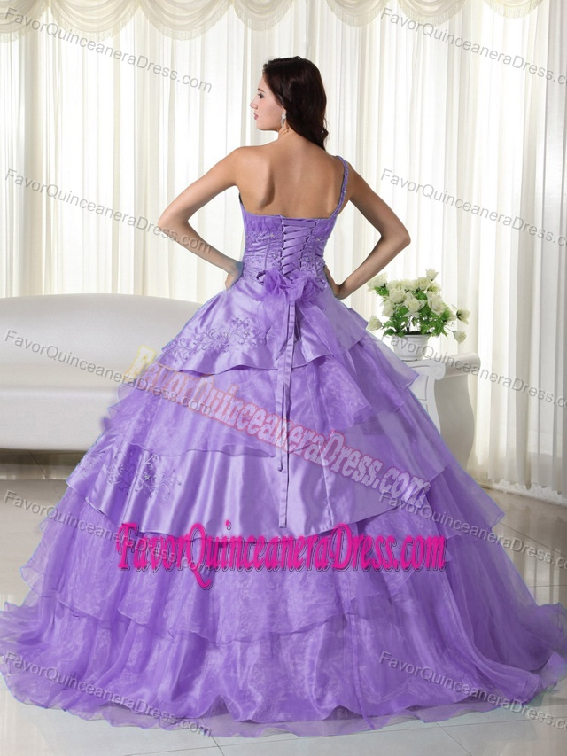 Pretty Lavender Organza One Shoulder Sweet 15 Dress in Floor-length
