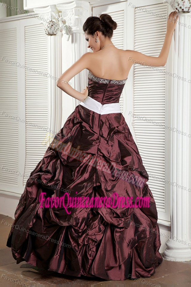 Burgundy Sweetheart Taffeta Quince Dress with Bowknot and Pick-ups