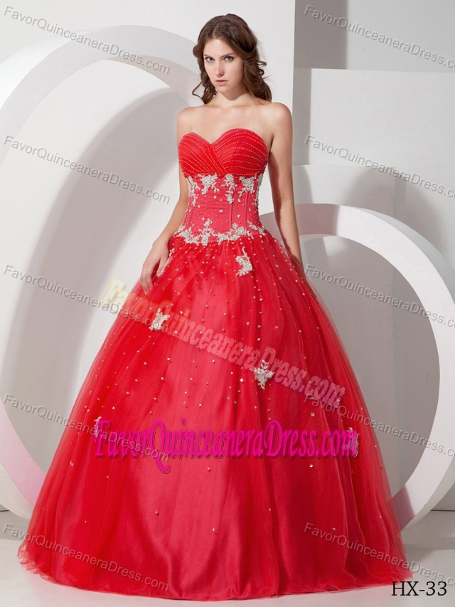 luxury and Grace Sweetheart Red Tulle Quinceanera Dress in Floor-length