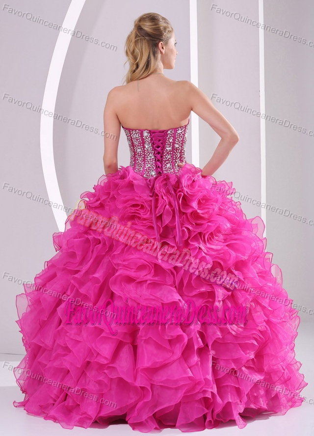 Fuchsia Sweetheart Ball Gown Beaded Dress for Quinceanera with Ruffles