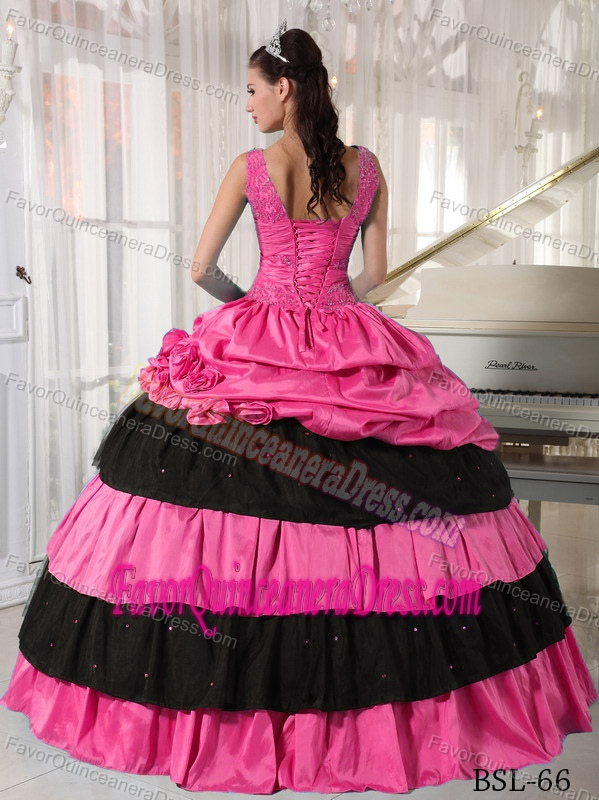 Taffeta Beaded Ball Gown Floor-length Dress for Quinceanera with V-neck