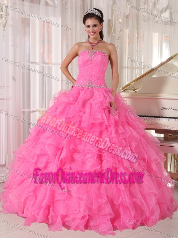 Strapless Floor-length Organza Beaded Ball Gown Quinces Dresses in Hot Pink