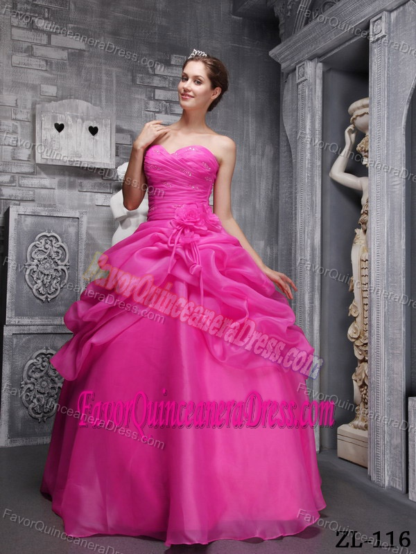 Sweetheart Organza Beaded Hot Pink Ball Gown Quinces Dresses with Ruches