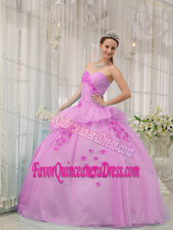 Pink Ball Gown Sweetheart Floor-length Organza Quince Dresses with Appliques