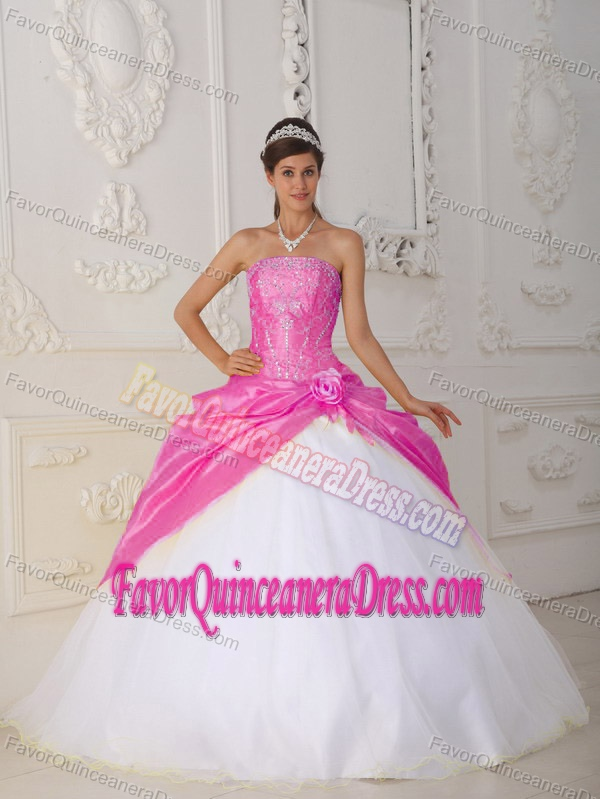 and White Ball Gown Strapless Organza and Taffeta Quinceanera Dress