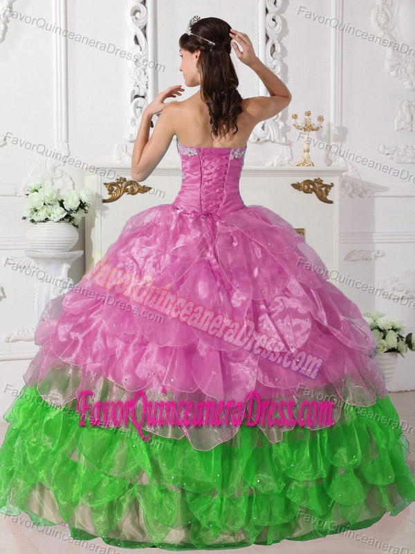 Colorful Pink and Green Ball Gown Strapless Quinceanera Dress with Appliques