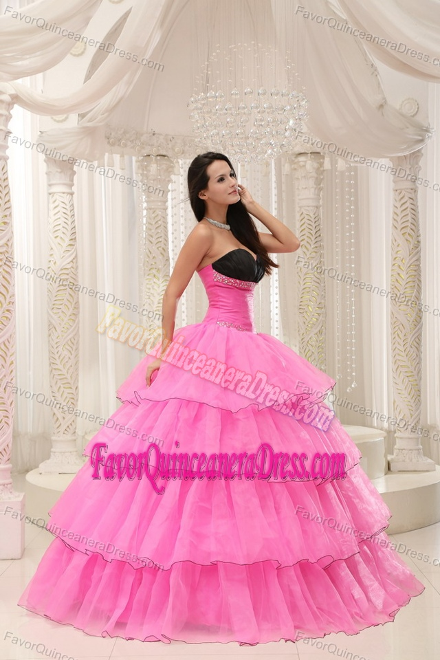 Rose Pink and Black Sweetheart Beaded 2015 Quinceanera Dress with Layers