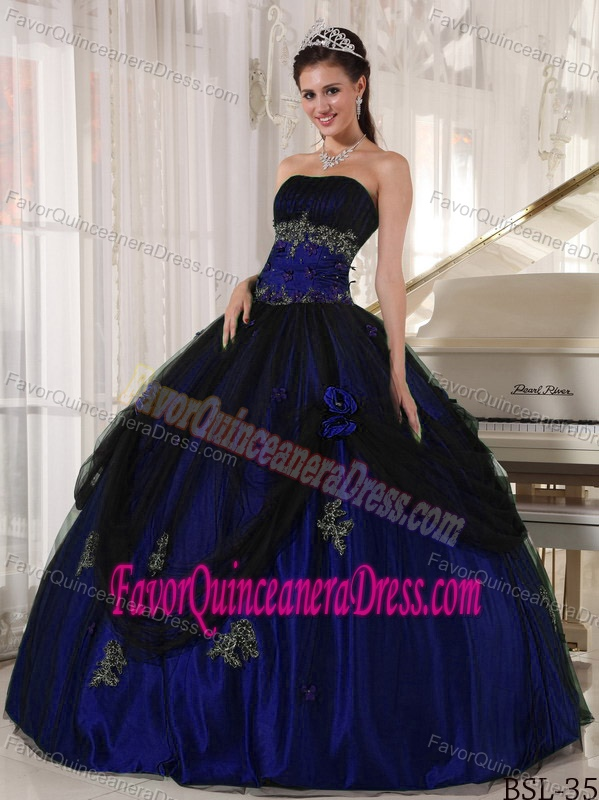 Latest Blue and Black Strapless Dress for Quince in Tulle and Taffeta