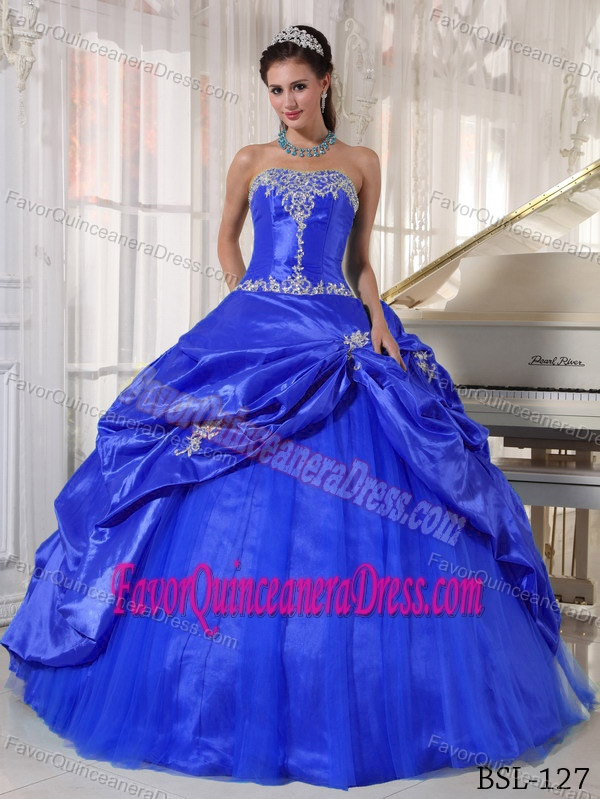 Simple Blue Strapless Quinceanera Gown Dresses in Taffeta and Tulle