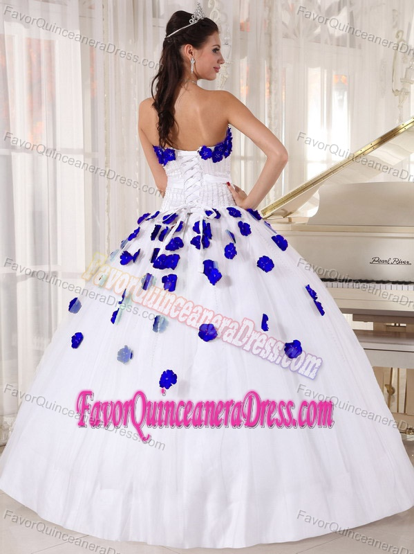 2014 White and Blue Tulle Beaded Quinceanera Dress with ...  2014 White and ...