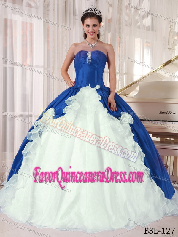 Blue and White Sweetheart Organza and Taffeta Beaded Quinceanera Dresses