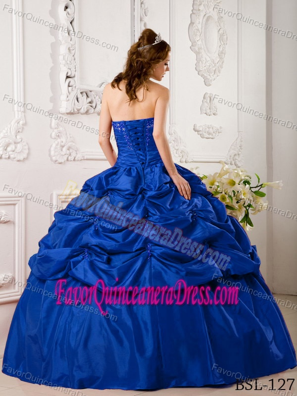 Blue Ball Gown Sweetheart Quinceanera Dresses with Pick-ups and Appliques