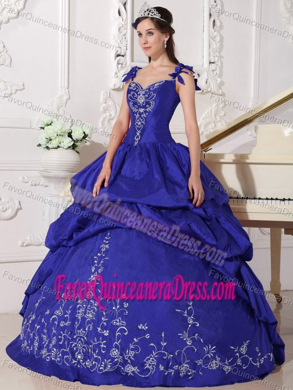 Royal Blue Ball Gown Quinceanera Dress With Straps And Embroidery For 2015