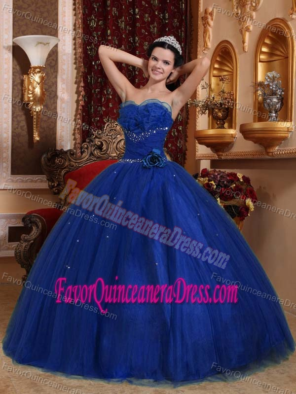 87314917e98 Luxurious Royal Blue Sweetheart Quinceanera Dress with Hand Made Flowers