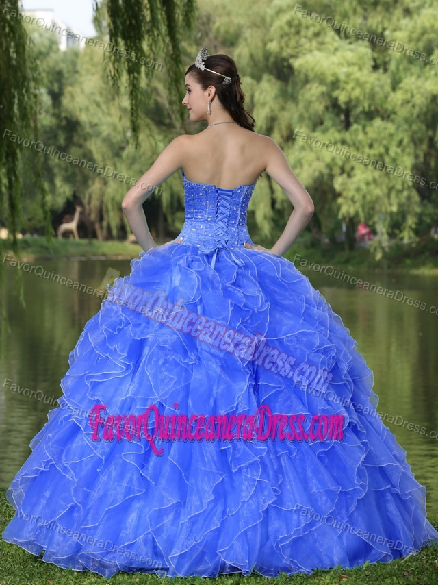 Beaded Ruffles Layered Blue for 2013 Quinceanera Dresses with Sweetheart