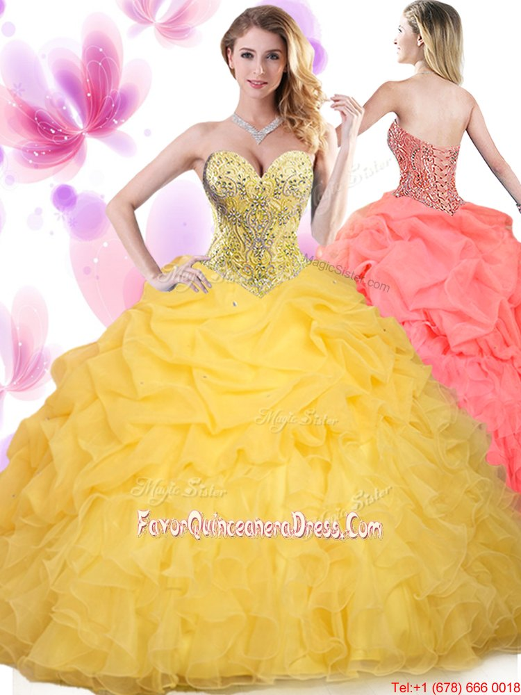 Ruffled Floor Length Ball Gowns Sleeveless Gold Quinceanera Dresses Lace Up