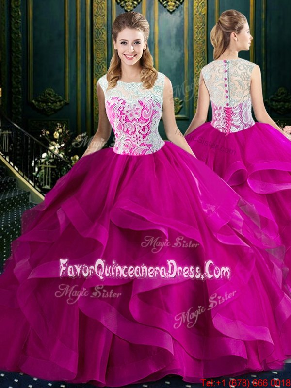Adorable Square Sleeveless Brush Train Clasp Handle Sweet 16 Quinceanera Dress Fuchsia Tulle