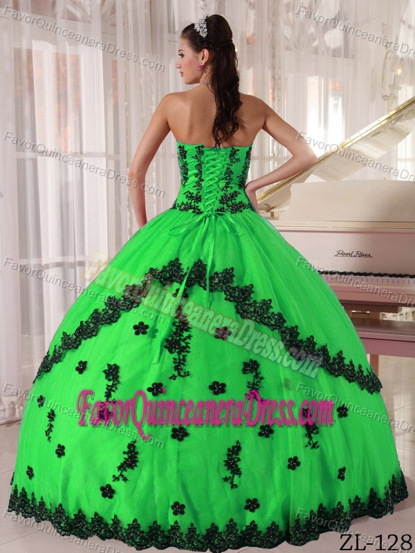 2014 Informal Strapless Green and Black Dress for Quince with Appliques
