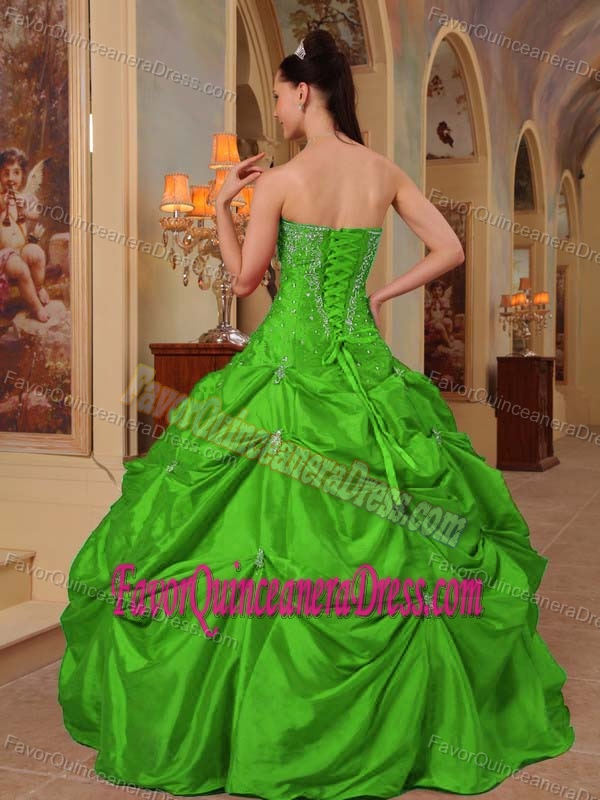 2014 Green Beaded Taffeta Pick-ups Embroidery Quinceanera Gown under 250