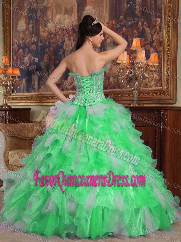 Hot Organza Green and Silver Quinces Dresses with Appliques and Ruffles