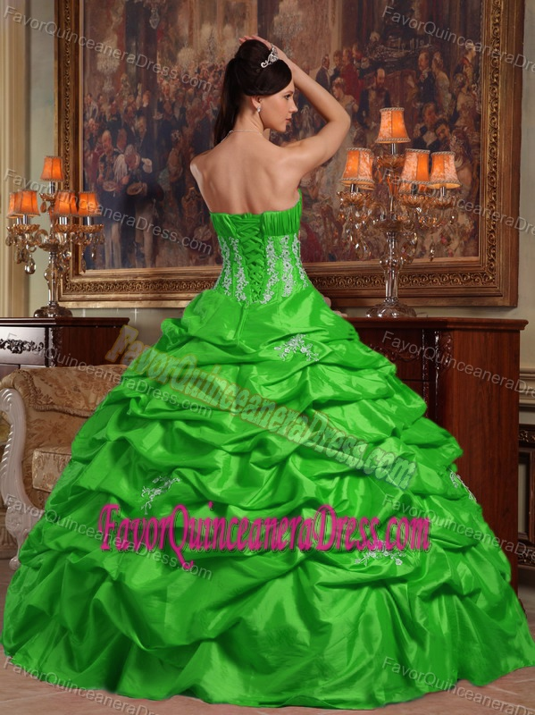 Green Handmade Flower Taffeta Quince Dresses with Appliques and Pick-ups