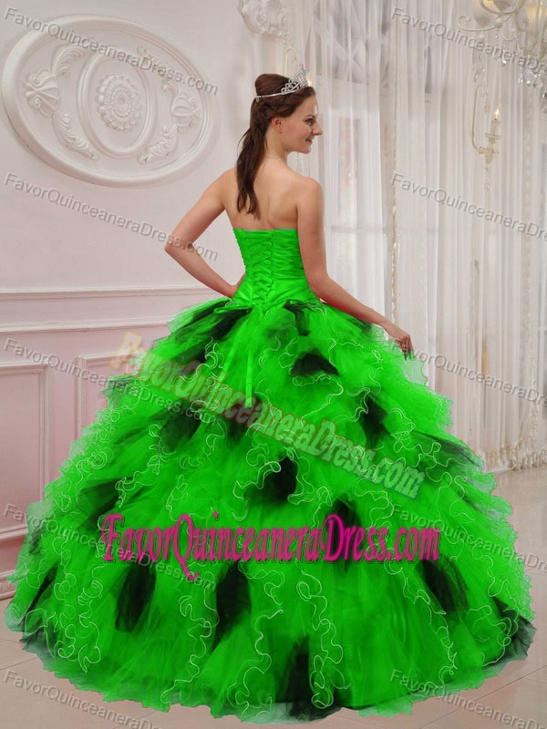 Green and Black Organza Beaded Sweetheart Quinceanera Dress with Ruches