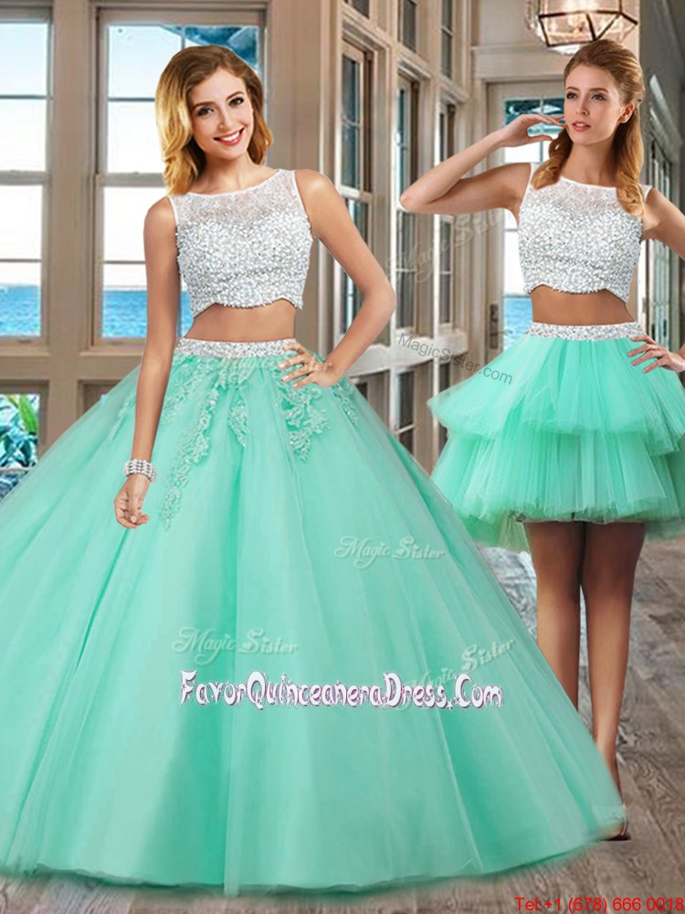 Apple Green Side Zipper Sweet 16 Dresses Beading and Appliques Sleeveless Floor Length
